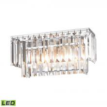 ELK Lighting 15211/2-LED - Palacial 2-Light Vanity Sconce in Polished Chrome with Clear Crystal - Includes LED Bulbs